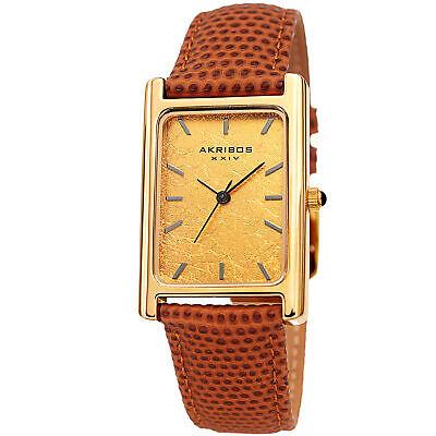 Men's Akribos XXIV AK1045BR Authentic Gold Leaf Dial Tan  Leather Stap Watch