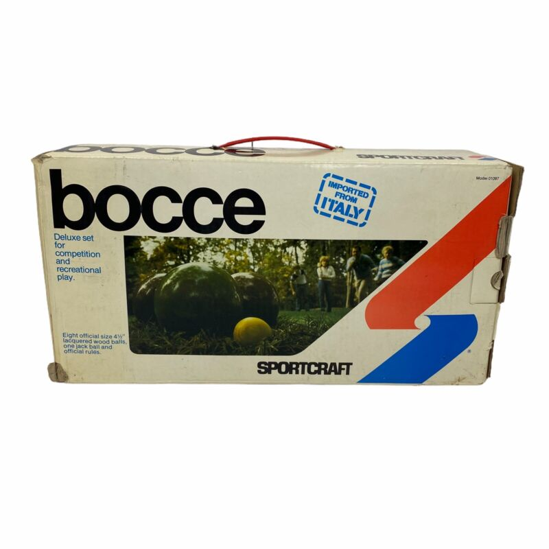 Vintage 1981 SPORTCRAFT • BOCCE BALL SET w/ original box MADE IN ITALY