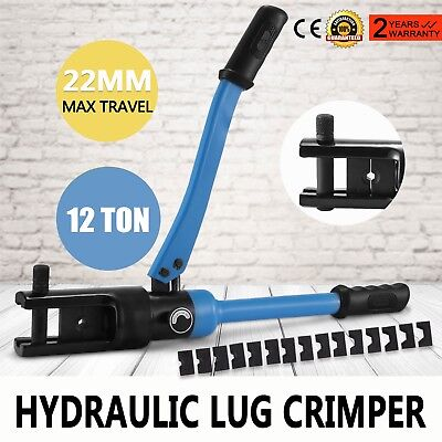16 Ton Hydraulic Wire Battery Cable Lug Terminal Crimper Crimping Tool 10 Dies