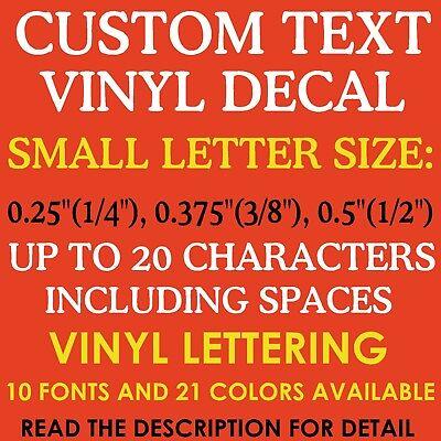 "1/4"" 3/8"" 1/2"" 0.25"" 0.375"" 0.5"" CUSTOM Vinyl  Decal Toy Model Name Number"