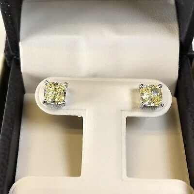 2Ct Studs Diamond Earrings Cushion Fancy Canary Yellow Man Made 14k Solid Gold