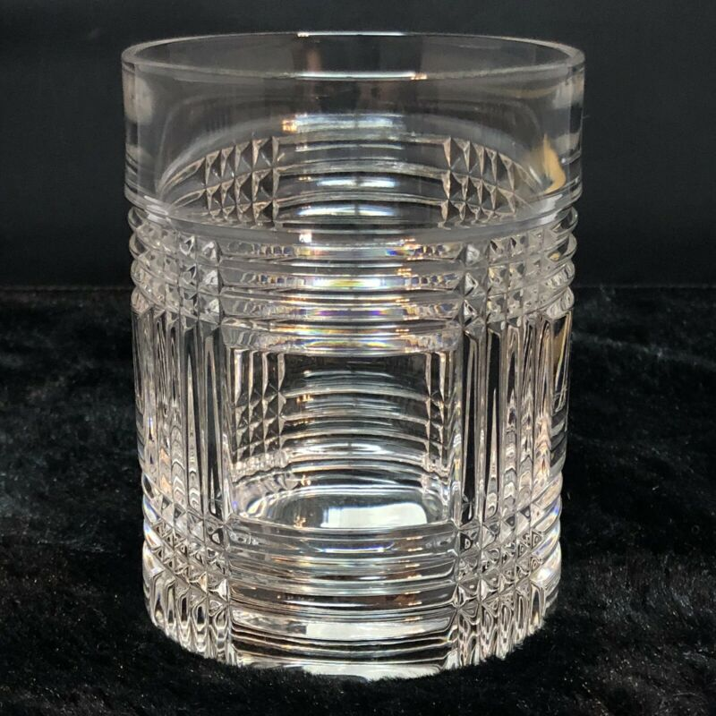 "RALPH LAUREN GLEN PLAID Crystal Whiskey Glasses Double Old Fashioned 4-1/8"" (1)"