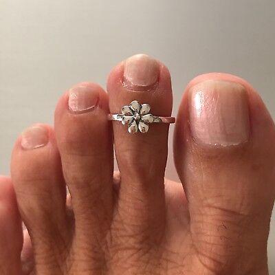 Sterling Silver Seven Petal Flower Toe Ring, Adjustable  ()