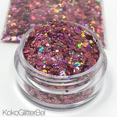 Rose Gold Fire Pink Holographic Hex Glitter Mix   Nail Art, Festival Glitter