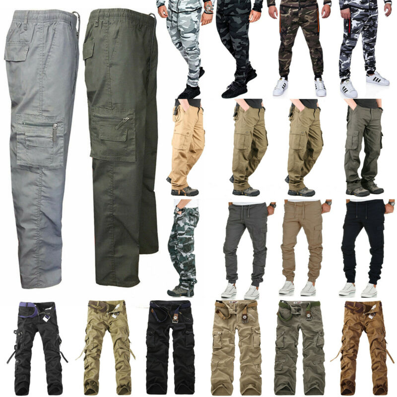 Mens Army Combat Military Tactical Cargo Pants Work Sports C