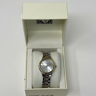 Anne Klein Womens Two Tone Bracelet Watch 30mm Silver Gold Tone Numerical Dial