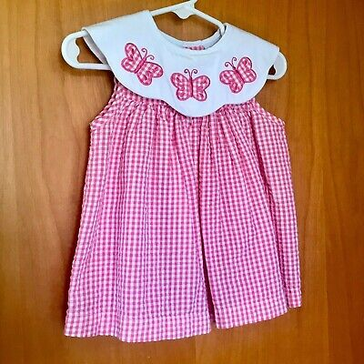 Baby Girl Pink & White Gingham Plaid Butterfly  Dress 6-9 no By PARISIAN BEBE