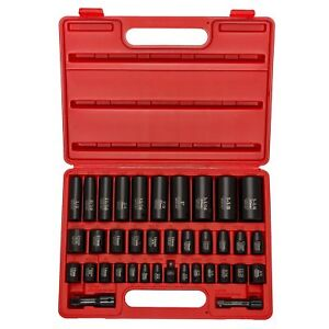 """Neiko 02443A  Complete 3/8"""" and 1/2"""" Drive Impact Socket Set, CR-V Steel 