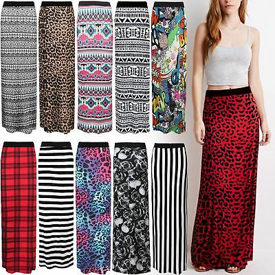 - Women Ladies Jersey Long Printed Maxi Skirt Gypsy Stretchy Skirt Plus Size 8-26