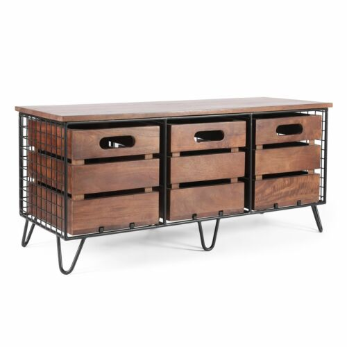 Cadley Wilhoit Modern Industrial Handcrafted Mango Wood Storage Bench with Drawe Benches, Stools & Bar Stools
