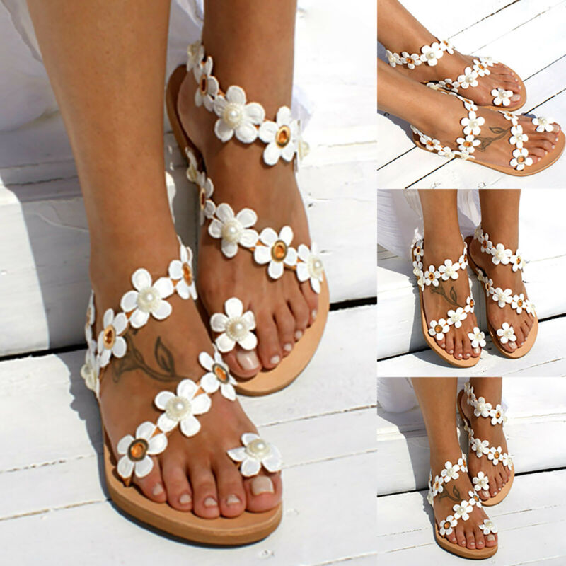 Womens Boho Flat Sandals Gladiator Toe Ring Flip Flops Casua