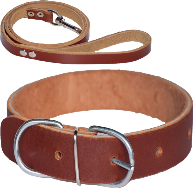 100% Genuine Cow Leather Handmade Dog Collar and Lead Set