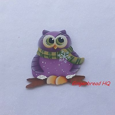 HP Handpainted purple  owl wooden christmas ornament, christmas crafts, winter