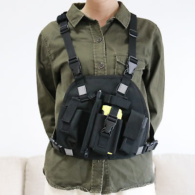 Universal Reflective Chest Harness Chest Pack Pouch Holster Vest Rig For Radio