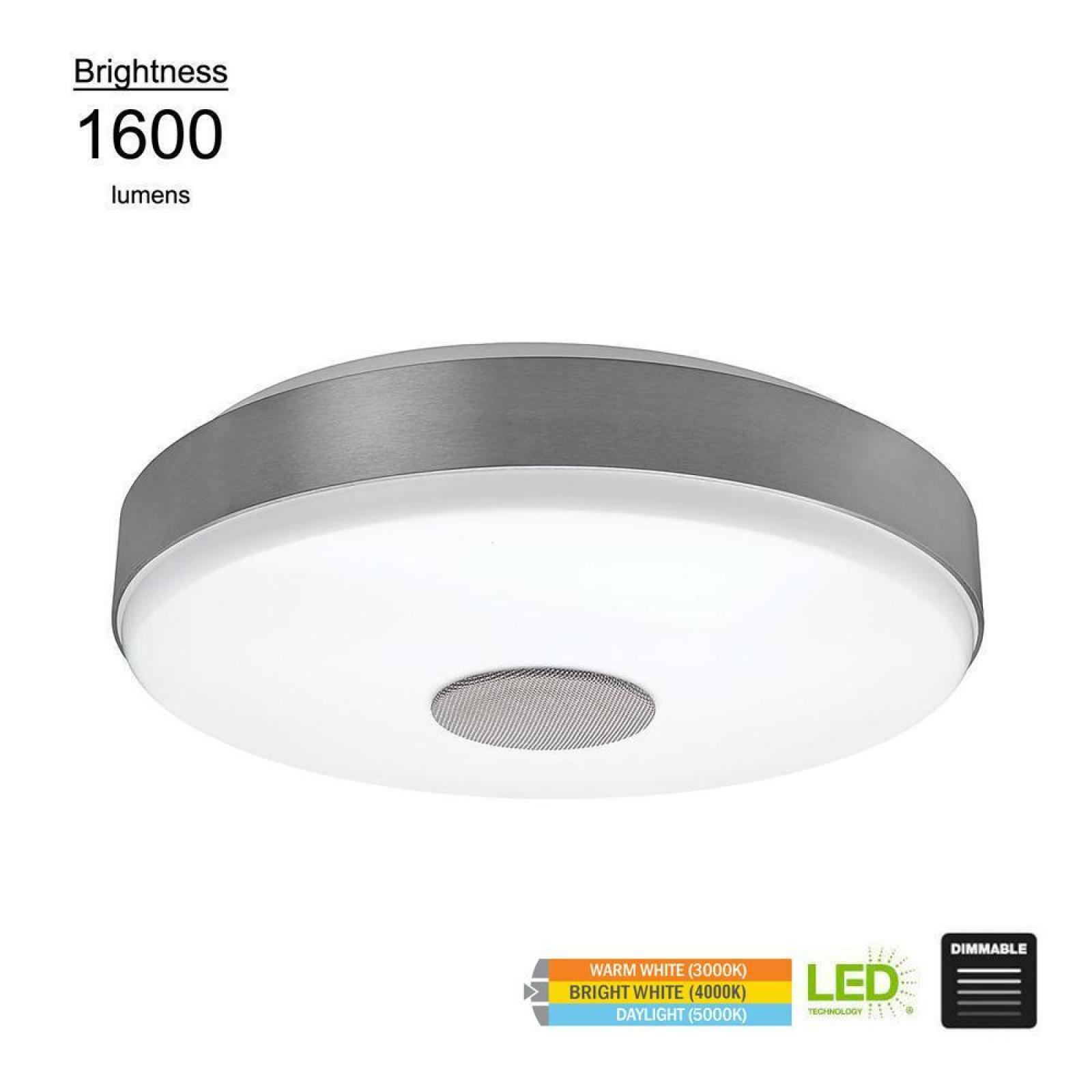 Details About 15 In Smart Home Led Light Bluetooth Speaker Round Flush Mount Color Changing