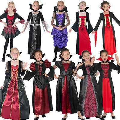 Girls Vampiress Halloween Fancy Dress Costume Female Vampire Spooky Childs New - Vampire Childrens Halloween Costumes