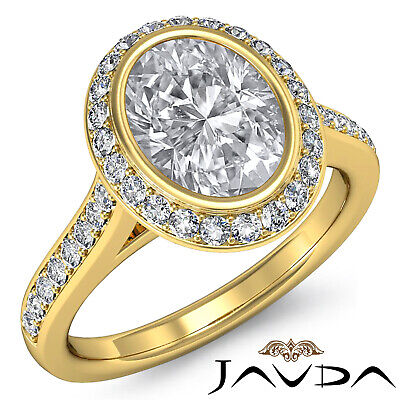 Cathedral Halo Pave Bezel Setting Oval Diamond Engagement Ring GIA H VS2 1.8 Ct 6