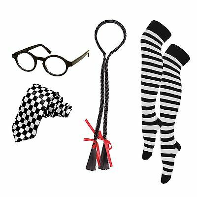 Naughty School Girl Fancy Dress Set (Hair Plaits, Glasses, Knee High Socks, Tie)