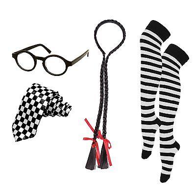 Naughty School Girl Fancy Dress Set (Hair Plaits, Glasses, Knee High Socks, Tie)