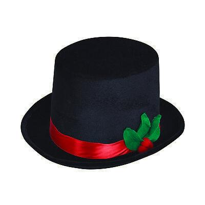 Herren Winter Weihnachten Schneemann Zylinder mit Mistletoe Damen Kostüm Zubehör