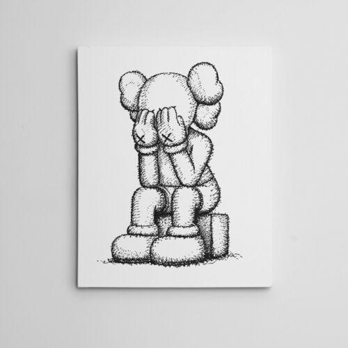 "16X20"" Gallery Art Canvas: Kaws Medicom Companion Passing Through Moma Hype !!"