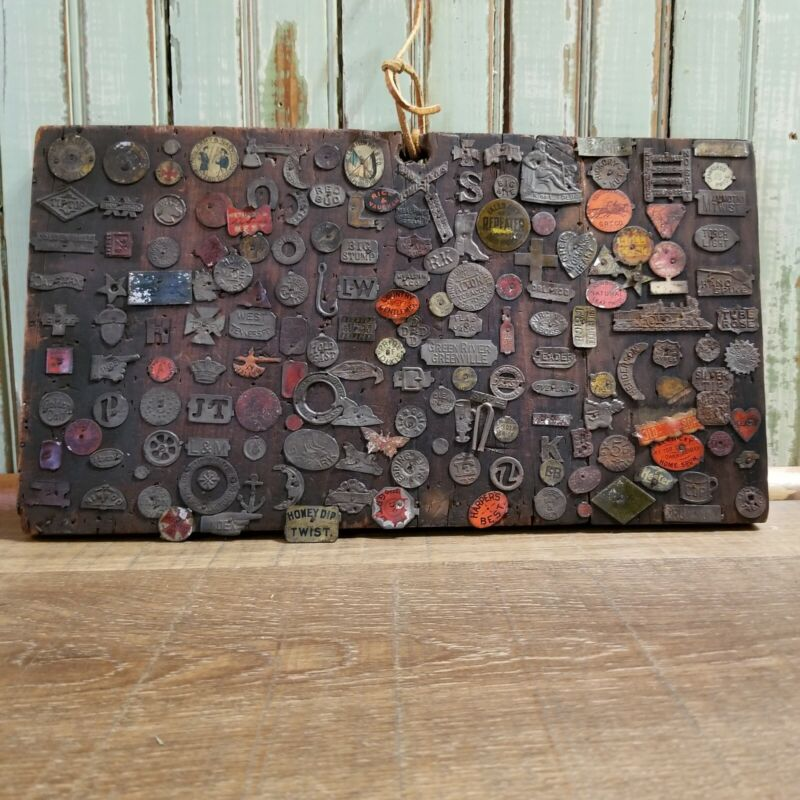 Vintage Tobacco Tag Collection Lot of 150+ Pieces Mounted to Board Folk Art