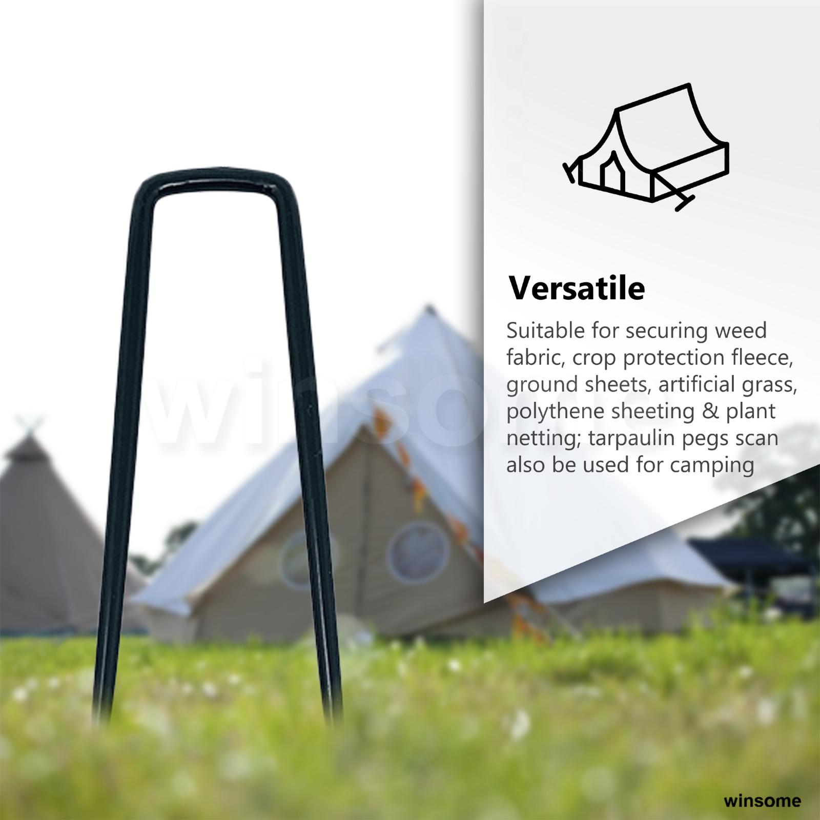 20 Garden Metal Fabric Tent Gazebo Awning Staples Pegs Ground Hooks 14.5 x 5cm