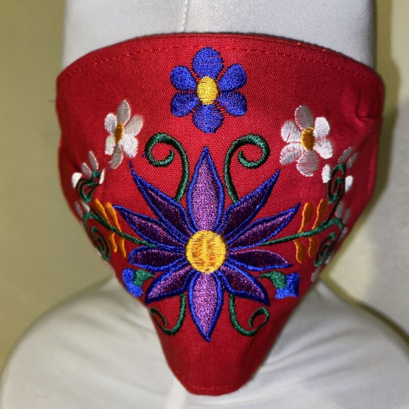 Mexico Artisan Embroidered Beautiful Flowers  Face Mask With Filter One Size