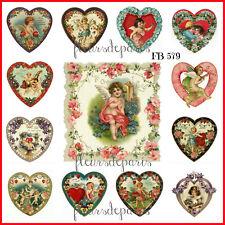 Shabby Chic Vintage Valentine Hearts Cherubs Cupids 13 ...