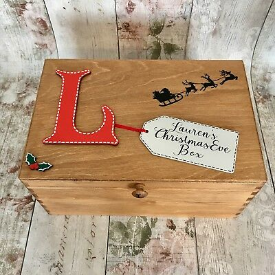 Children's Halloween Poems (Personalised Wooden Christmas Eve Box Poem Inside Children's Initial Rustic)