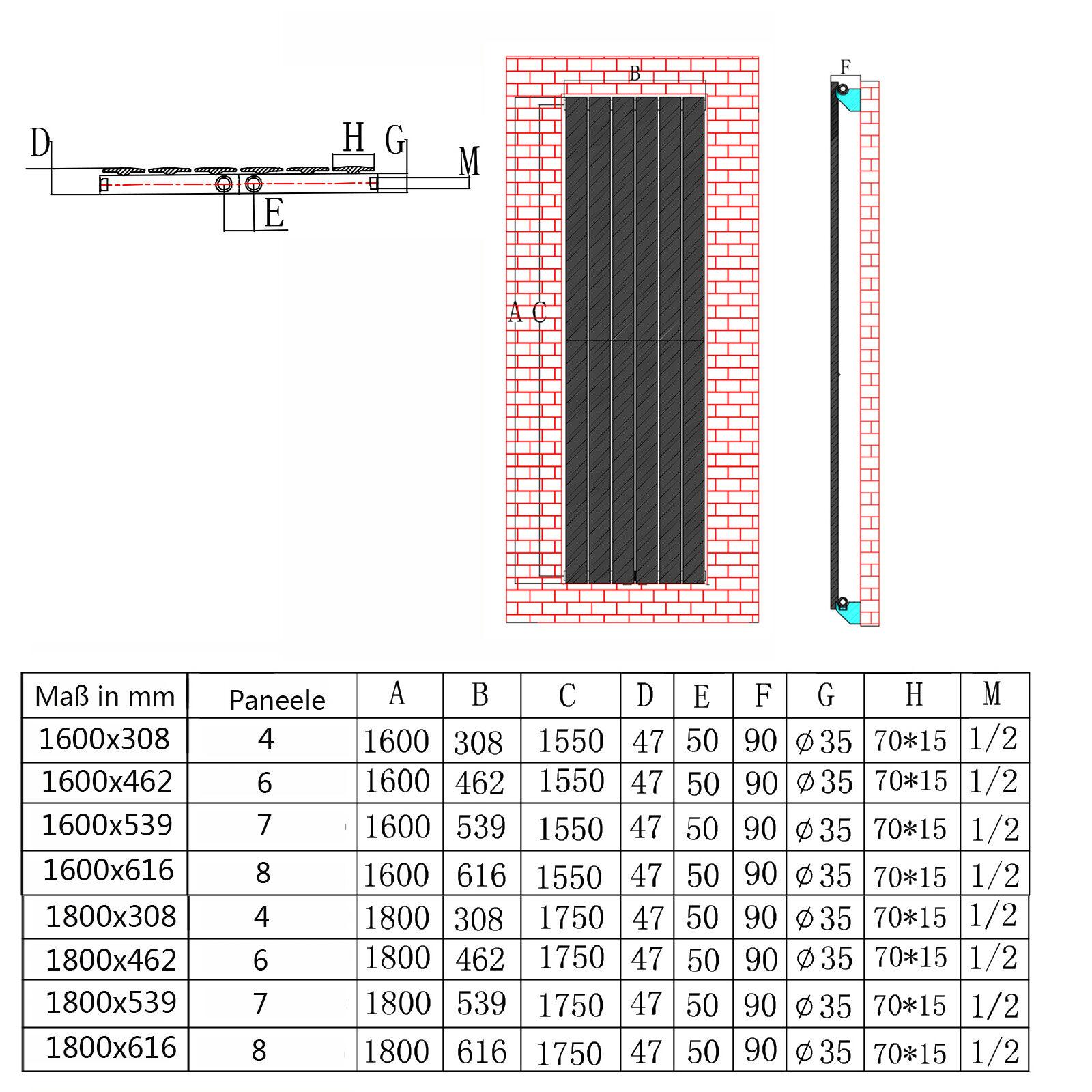 Design Paneel Heizkörper Flachheizkörper Wandheizung Vertikal/Horizontal Weiß