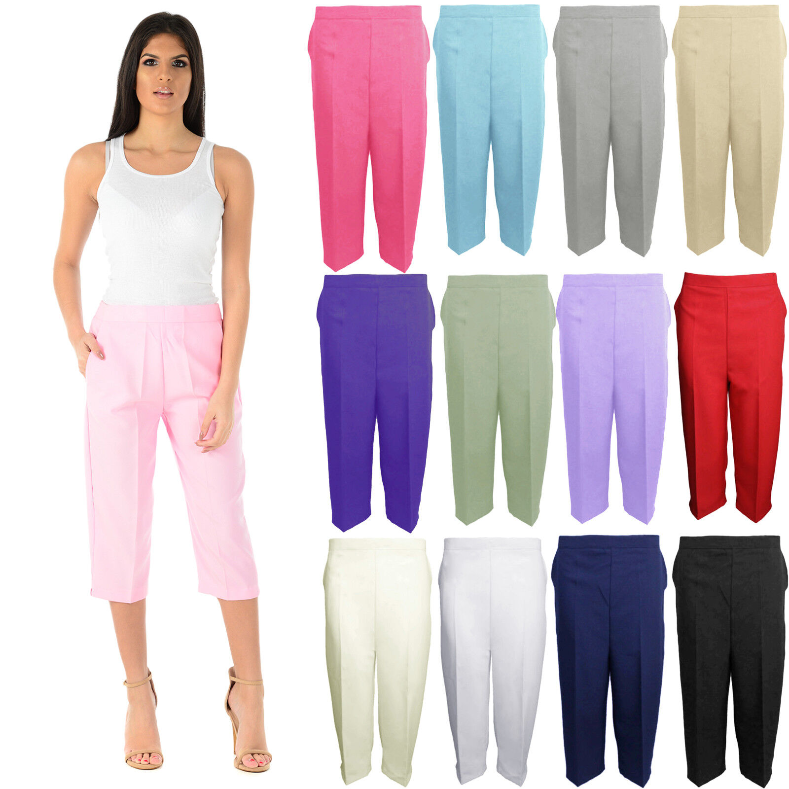 Ladies Three Quarter Trousers Elasticated Womens Capri Cropped Shorts Pants NEW