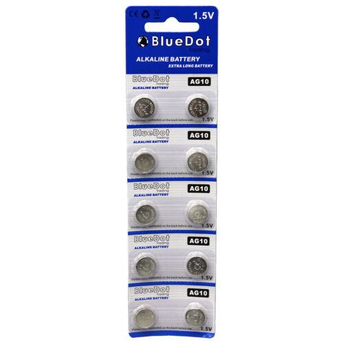 10 pcs AG10 ~ button cell alkaline batteries coin watch calculator battery size