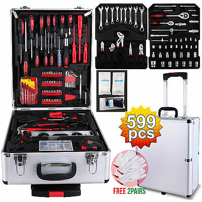 599 pcs Tool Set Trolley Standard Metric Mechanics Kit Case Box Organize Castors