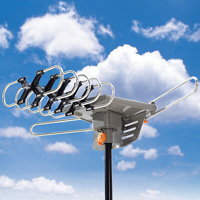 HDTV 1080P Outdoor TV Antenna Amplified Motorized HD 36dB UHF VHF FM 150 Miles