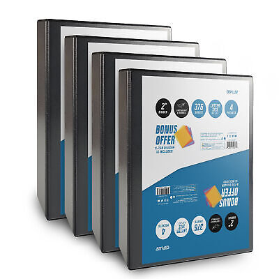 Os Plus 2 Inch O-ring Simple View Binder Black 4 Pack Bonus 1 Set Divider