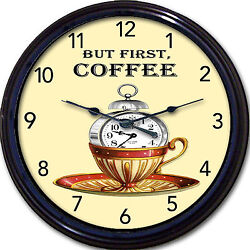 Coffee Cup Mug Caffeine Wall Clock But First Coffee Kitchen Decaf New 10