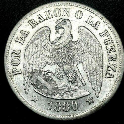 REPUBLIC CHILE 1880 SO (25 GRAM) UN (1) PESO  SILVER COIN BU/MS KM# 142.1. #1
