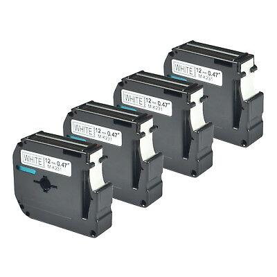 4pk Black On White Label Tape For Brother M-k231 Mk231 P-touch Pt-65 Pt-85 12