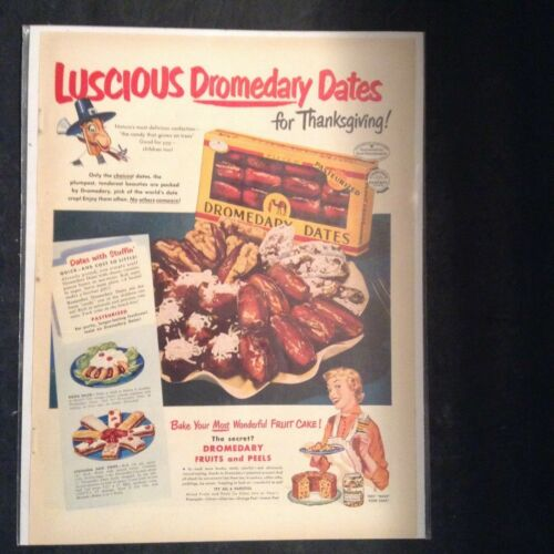 "Vintage 1950 Advertisement Luscious Dromedary Dates w/ Recipes 11"" X 14"""