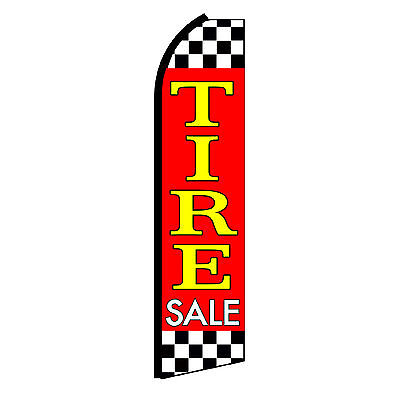 Tire Sale Checkered Advertising Flutter Feather Sign Swooper Banner Flag Only