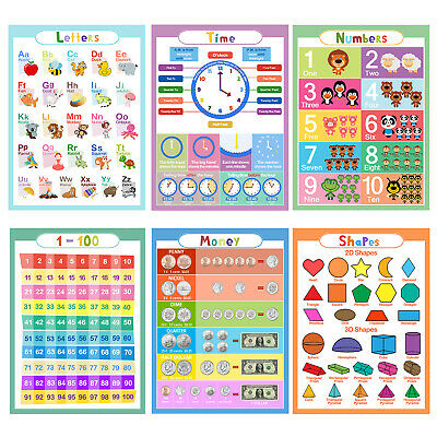 6Pcs Animal ABC Alphabet Time Learn Children Educational Paper Poster ,In USA (Learning Posters)