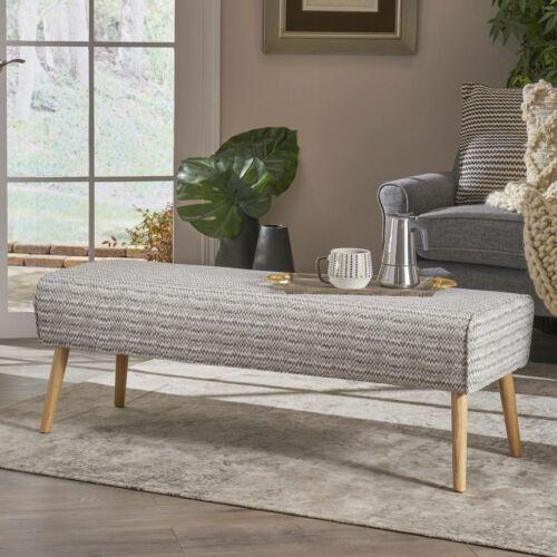 Sade Mid Century Boho Fabric Ottoman, Light Grey Zig Zag Pattern Furniture