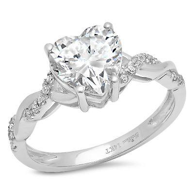 1.99ct Heart Cut Wedding Bridal Valentines Anniversary Ring 14k White gold