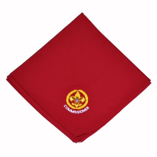 BOY SCOUT OFFICIAL LICENSED EMBROIDERED RED COMMISSIONER NECKERCHIEF BSA NEW