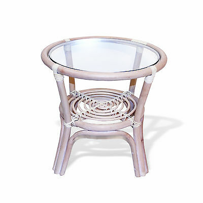 Leo Handmade Rattan Wicker SMALL Round Accent End Coffee Table with Glass Top Glass Rattan End Table