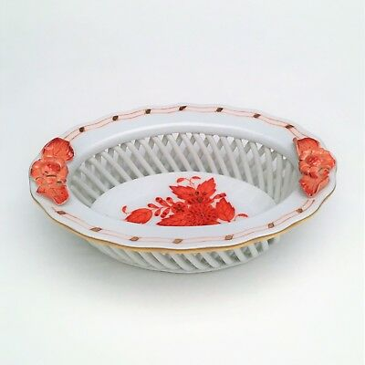 "Herend Porcelain Chinese Bouquet Rust 3"" Round Basket #7381/AOG"