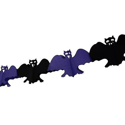 Halloween Bat Garland Purple Paper Wall Banner Decoration Chain Party Fun Scary ()