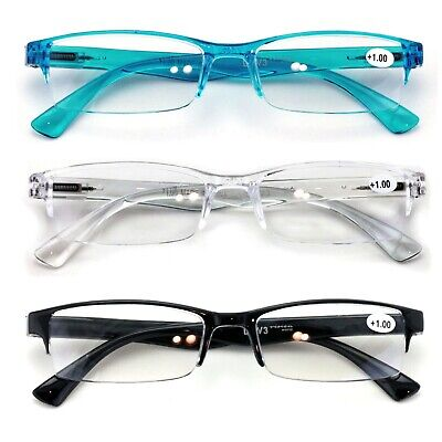 3 Pairs Lightweight Rectangular Unisex Readers Spring Hinge slim Reading Glasses