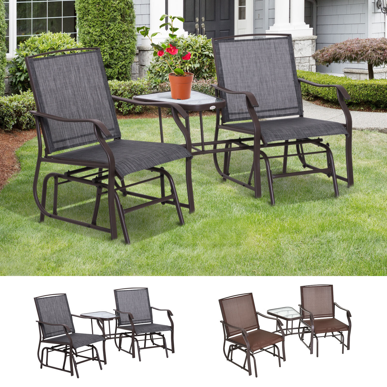 Patio Double Glider Chairs Garden Bench with Center Table Backyard Furniture
